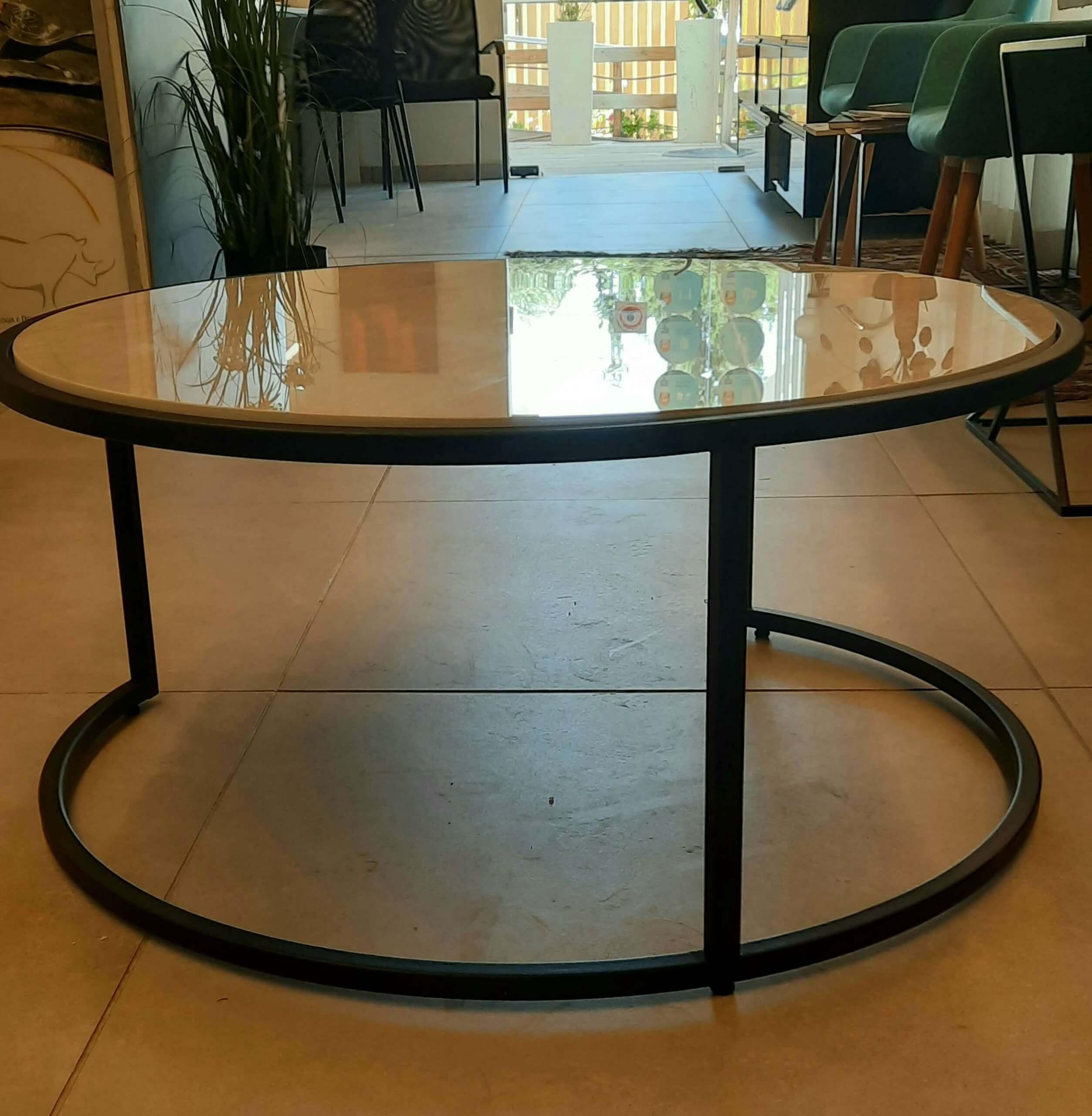 שולחן שיש לסלון פורצלן טאג' מאהל עגול
